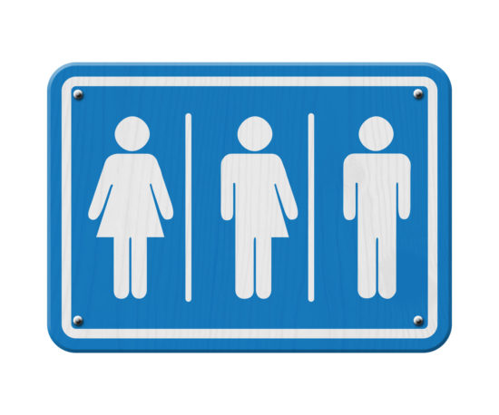 blue and white sign with a woman, male and transgender symbol